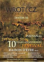 Wrotycz 10th Anniversary Festival, Wrotycz Records, folk, neofolk, dark ambient, dark synthpop, harsh ambient, Raison d'Etre, Spiritual Front, Bocksholm, Antlers Mulm, Sunset Wings, Kratong, Contemplatron