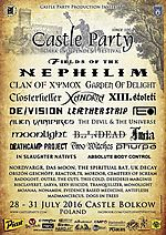 Castle Party, Castle Party 2016, Fields Of The Nephilim, Closterkeller, Clan Of Xymox, Two Witches, Xandria, DE/VISION, Garden Of Delight, Moonlight, Deathcamp Project, LEÆTHER STRIP, Absolute Body Control, UK Decay, XIII. Stoleti, Furia, Das Moon