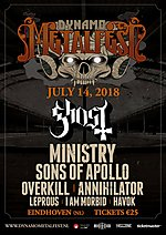 Dynamo Metalfest, GHOST,MINISTRY, SONS OF APOLLO, OVERKILL, ANNIHILATOR, LEPROUS, I AM MORBID, IRON REAGAN